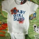 "Baby Onesie Girl Hand painted "" BABY GIRL SURF"" 12 MONTHS"