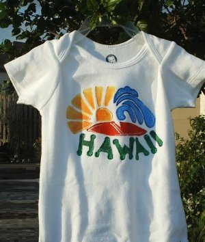 "Baby Onesie Boy Hand painted "" HAWAII"" size 12 months"