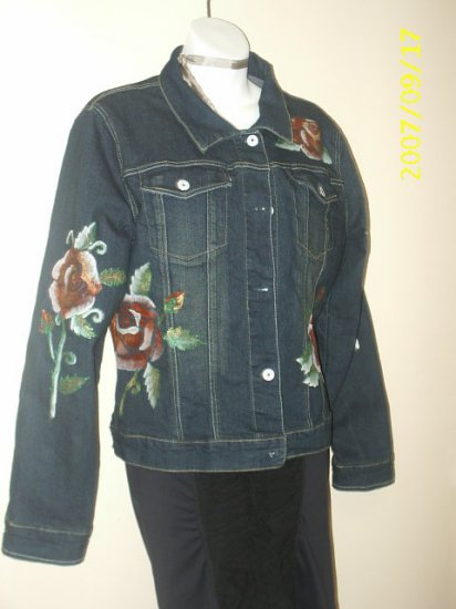 Hand Painted Blue jacket with tatoo roses in size medium