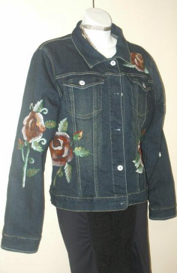 Hand Painted Blue jacket with tatoo roses in size extra large