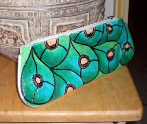 Hand Painted Feathers Large Wrislet bag with pockets