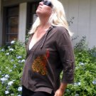 Hand painted Peacock Tribal earth colors on brownish-green hoodie SIZE EXTRA LARGE