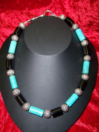 Turquoise & Onyx Cylinders w/Bali .925 Silver Beads