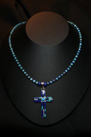 Lapis, Lazuli & Turquoise w/ Enamle .925 cross