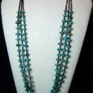 Turquoise & Heishi shell, American Indian 3-Strand on String