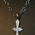 Small engraved Cross on Link Chain
