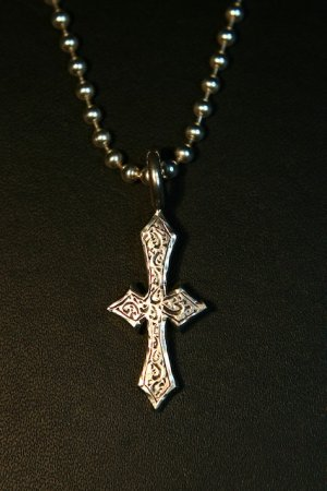 Small engraved Cross on Bead Chain