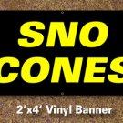 Snow Cones Banner 2x4 ft