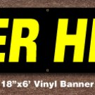 Beer Here Banner 18 inch x 6 ft