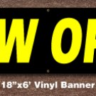 Now Open Banner 18 inch x 6 ft