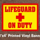Lifeguard On Duty Banner 3x6 ft