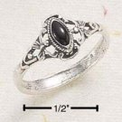 RG007-STERLING SILVER ELONGATED BLACK MARQUIS WITH SCROLL
