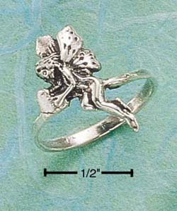 RG008-STERLING SILVER FAIRY HOLDING HEART RING