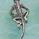 RG026-STERLING SILVER ANTIQUED TEXTURED GECKO EAR CUFF