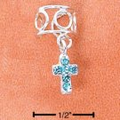RG029-STERLING SILVER OPEN WIRE EAR CUFF WITH CIRCLES AND BLUE CRYSTAL CROSS DANGLE
