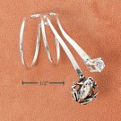 RG031-STERLING SILVER DOUBLE LOOP DROP EAR CUFF WITH FROG AND SMALL ROUND CLEAR CZ