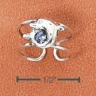 RG034-STERLING SILVER MINI DOLPHIN WITH BLUE CRYSTAL EAR CUFF