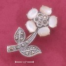 RG042-STERLING SILVER MARCASITE FLOWER PIN WITH MOTHER OF PEARL PETALS