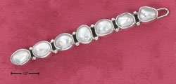 RG248-STERLING SILVER NATURAL SHAPE MULTI PEARL HAIR CLIP WITH SNAP CLOSURE