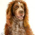 Original Oil DOG Portrait Painting PONT-AUDEMER SPANIEL