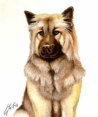 � Original Oil DOG Portrait Painting Artwork EURASIER �
