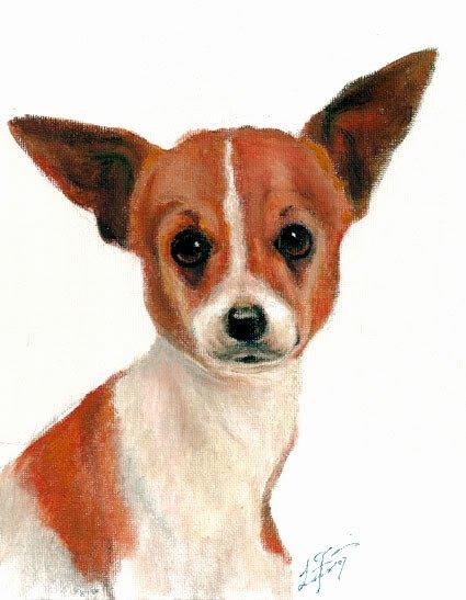 � Original Oil DOG Portrait Painting Art CHIHUAHUA �