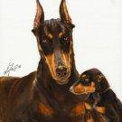 ★ Original Oil DOG Portrait Painting DOBERMAN PINSCHER
