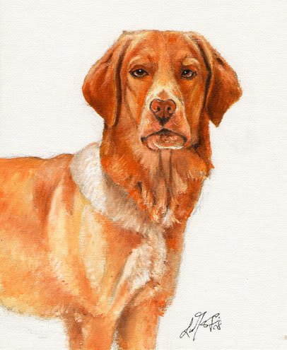� Original Oil DOG Portrait Painting Art HOVAWART �