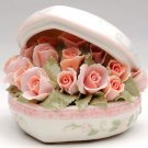 ♫MUSIC BOX Porcelain PINK ROSE Heart Bouquet LOVE STORY