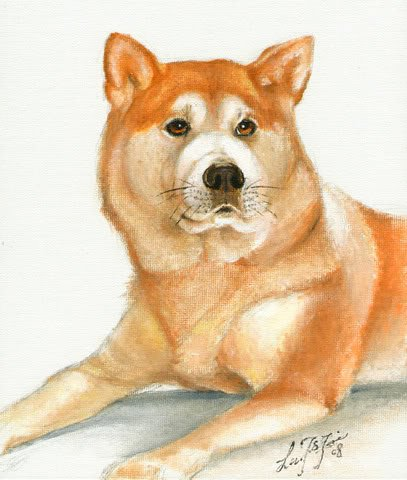 � ORIGINAL Oil DOG Portrait Painting Japanese AKITA Art