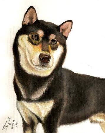 � Original Oil DOG Portrait Painting Japanese SHIBA INU