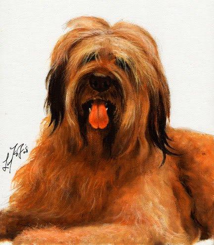� Original Oil DOG Art Portrait Painting BRIARD Artwork