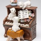 ♫ New MUSIC BOX Porcelain WESTIE Dog Playing PIANO ♫