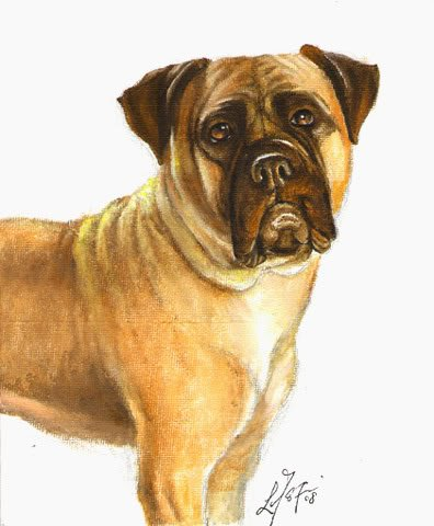 � ORIGINAL Oil DOG Portrait Painting BULLMASTIFF Art �