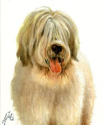 � Original Oil DOG Portrait Painting RUSSIAN SHEEPDOG �