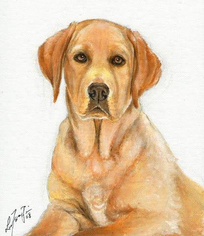 � ORIGINAL Oil DOG Portrait Painting LABRADOR RETRIEVER