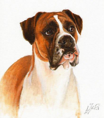 � Original DOG Oil Portrait Painting Art BOXER Artwork
