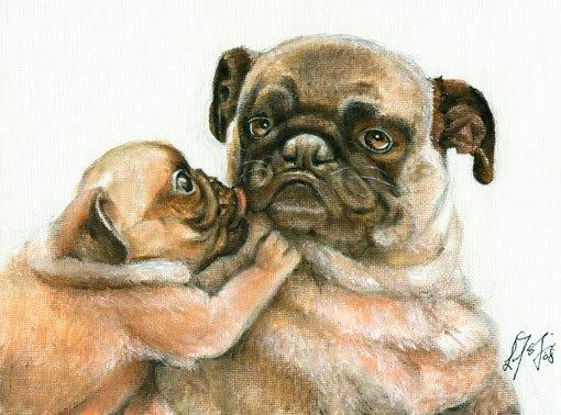 � ORIGINAL Oil Portrait Painting Dog Puppy Artwork PUG