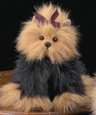� BEARINGTON COLLECTION Dog YORKIE Fur Plush ~IT BARKS~