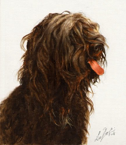 � Original Oil DOG Portrait Painting Art SCHAPENDOES �