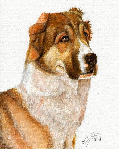 � Original Oil DOG Portrait Painting RUSSIAN SHEEPDOG �