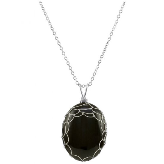 Large Black Onyx Charlotte Pendant in Sterling Silver