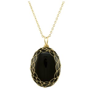 Large Black Onyx Charlotte Pendant in Gold