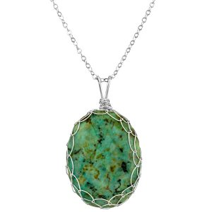 Large Turquoise Charlotte Pendant in Sterling Silver