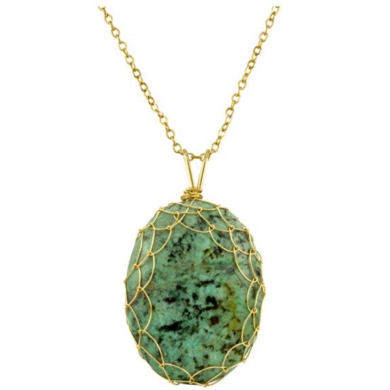 Large Turquoise Charlotte Pendant in Gold