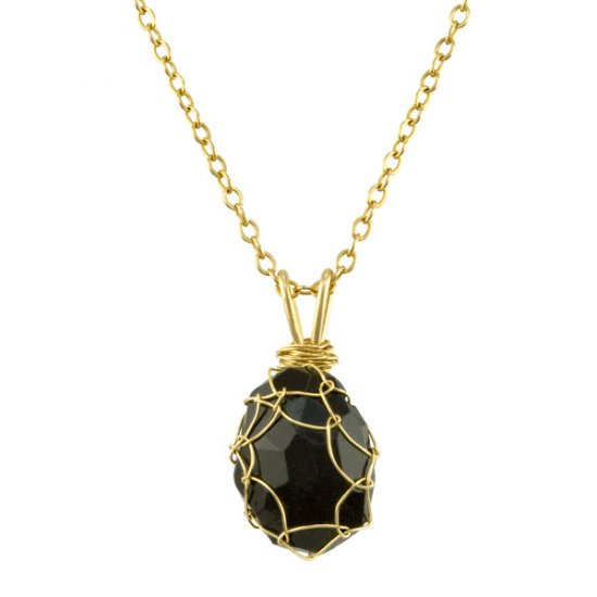 Small Blue Goldstone Mini Charlotte Pendant in Gold