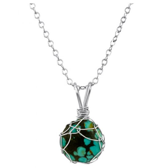 Small Turquoise Mini Charlotte Pendant in Sterling Silver