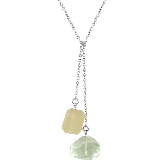 Ollie Lariat Crystal Quartz & Rose Quartz in Sterling Silver