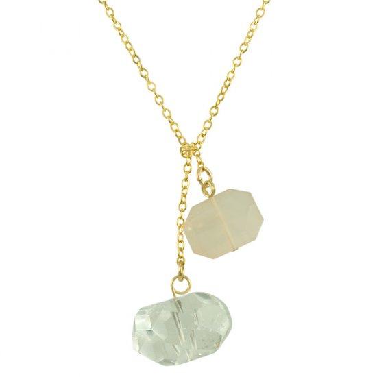 Ollie Lariat Crystal Quartz & Rose Quartz in Gold