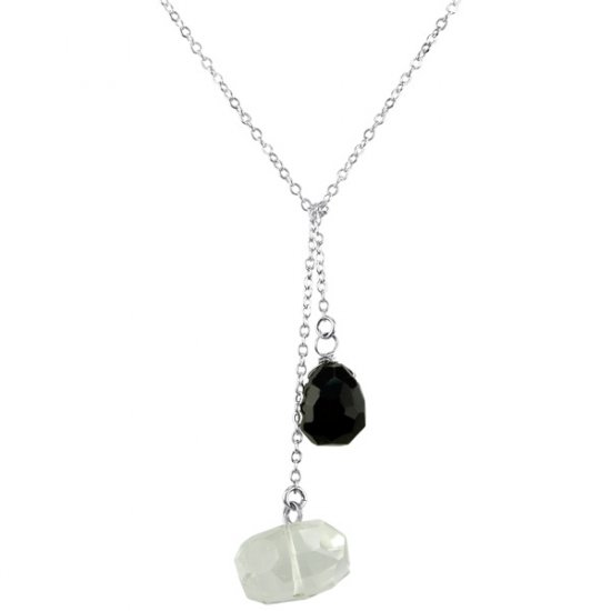 Ollie Lariat Crystal Quartz & Blue Goldstone in Sterling Silver